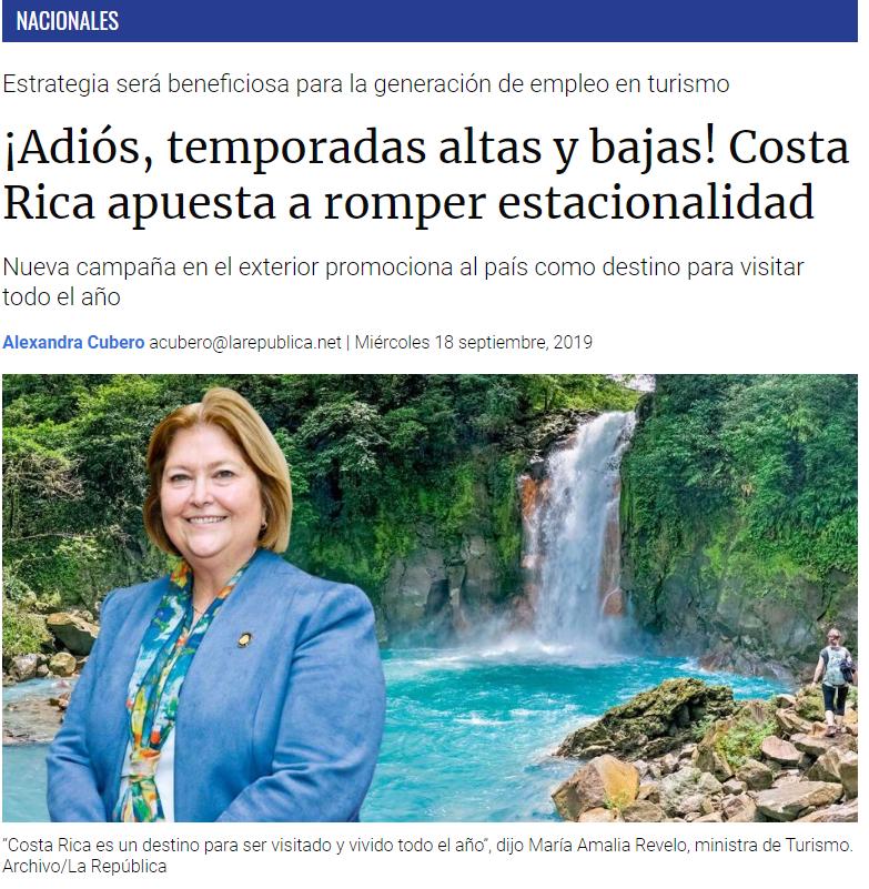 """""""Le hemos puesto una frase de que se puede explorar todo el año, lo que queremos es decirle a los turistas que pueden venir a Costa Rica cuando gusten, ¿qué más lindo que ir al Caribe en octubre?"""", dijo María Amalia Revelo, ministra de Turismo."""